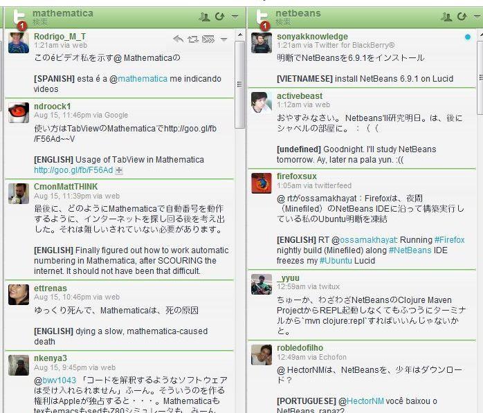 翻訳後のHootSuite